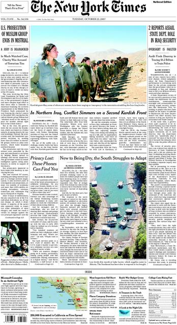 new york times front page archive. NYT front page October 23,