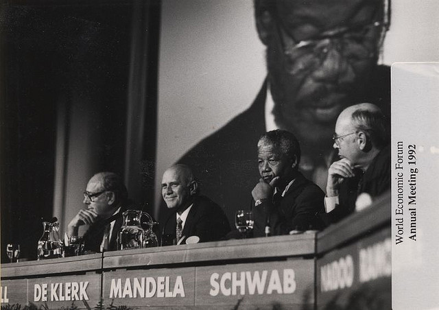 Nelson Mandela at the Annual Meeting of the World Economic Forum in Davos, 1992. Photo: World Economic Forum